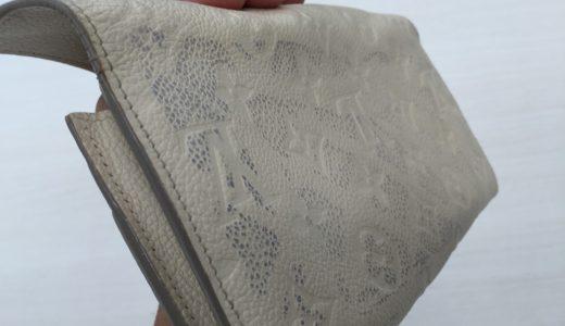 ルイ・ヴィトン(LOUIS VUITTON)長財布アンプラントレザー白のレザー色移りの除去とカラーリング(色修復)