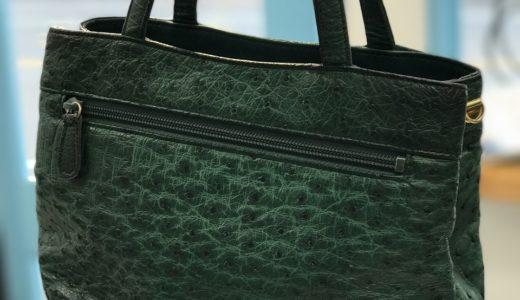 オーストリッチ(緑)バッグの色剥げ修復カラーリング