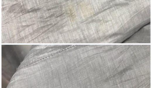 麻と絹混紡のジャケット染み抜き