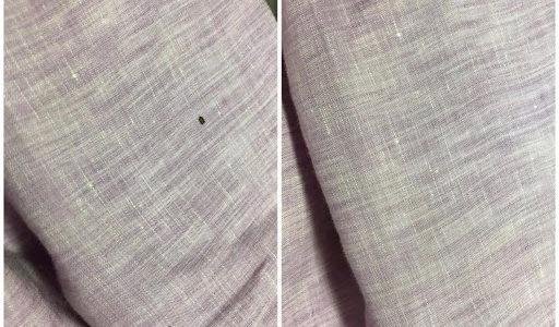 薄紫色のジャケット袖の不明シミ